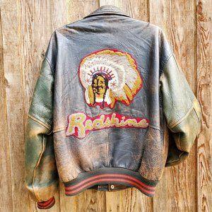 Vintage Laurence Roy Redskins Indian Genuine Leather Varsity Letterman Jacket